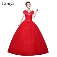 2016 New Arrived Customizable Red Crystal V Neck Lace Ball Gown Wedding Dress Fashion Bridal Gowns