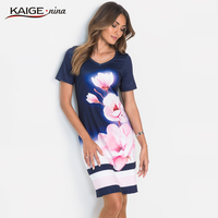 Summer Dress Women Floral Print Knitting Dress Short Bohemian Style V Neck A Line Dress Casual