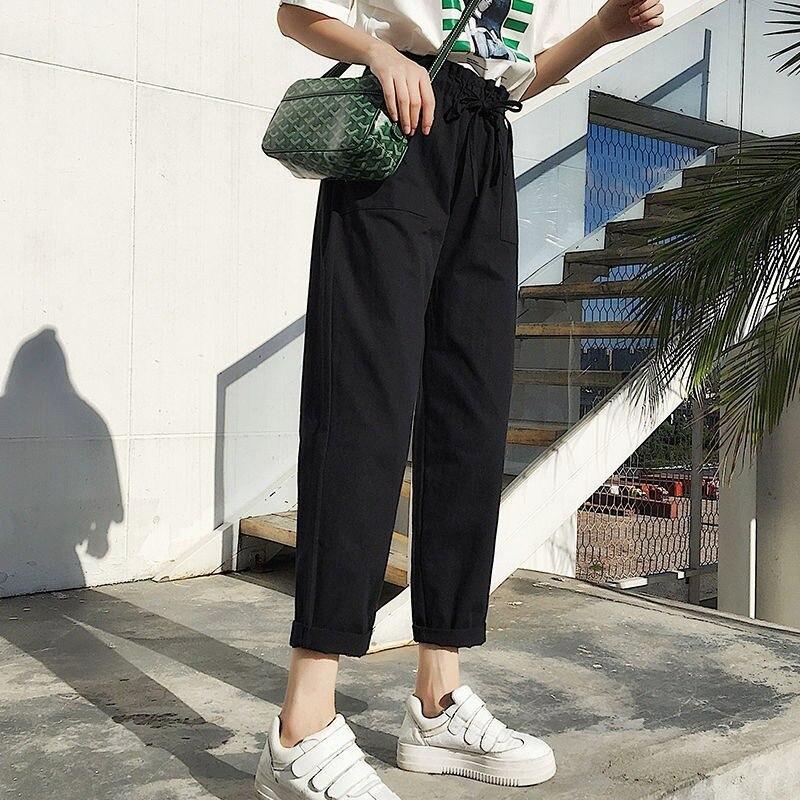 Korean Style Women High Waist Cargo Pants 2019 Fashion Hip Hop Womens Trousers Pockets Solid Casual Loose Streetwear Pants 2019