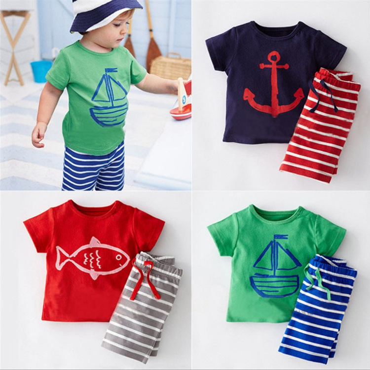 Baby Boys Summer Clothing Set Boat Anchor Fish Striped Boy Clothes T shirt Beach Short Pants Cotton Suit For 1 2 3 4 5 6 Years baby boy clothes suits vest plaid shirt pants 3pcs set party formal gentleman wedding long sleeve kid clothing set free shipping