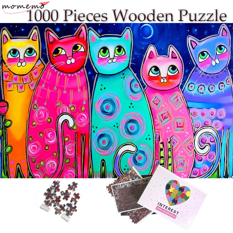 MOMEMO The Cat Puzzle Adult 1000 Pieces Difficult Wooden Jigsaw Puzzle Colorful Painting Puzzles Grownups Teenagers Kids Gifts