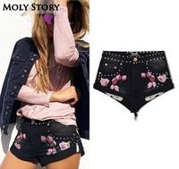 Summer Denim Shorts Black Punk Rivet Floral Embroidery High Waist Shorts for Women Short Jeans Cut Off Sexy Booty Shorts
