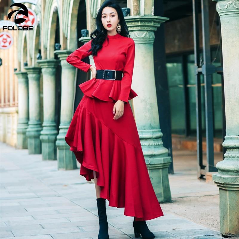 Mode Robes Drapée Asymétrique Haute Robe Manches Vêtements Rouge Folobe Taille Féminine Col De Longues À Midi 2018 Haut q66gcta