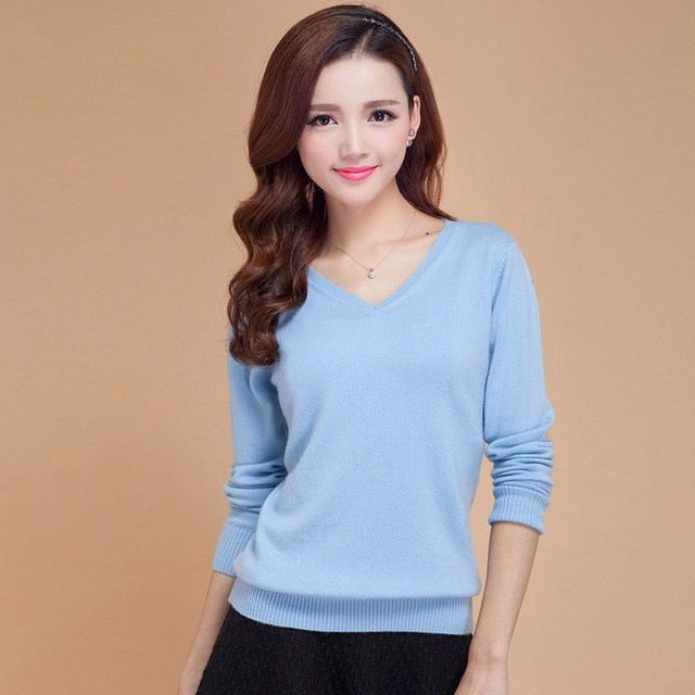 LHZSYY Spring autumn New soft Cashmere Sweaters Female Slim V collar knit Long sleeve pullover Solid color short Wool Sweaters