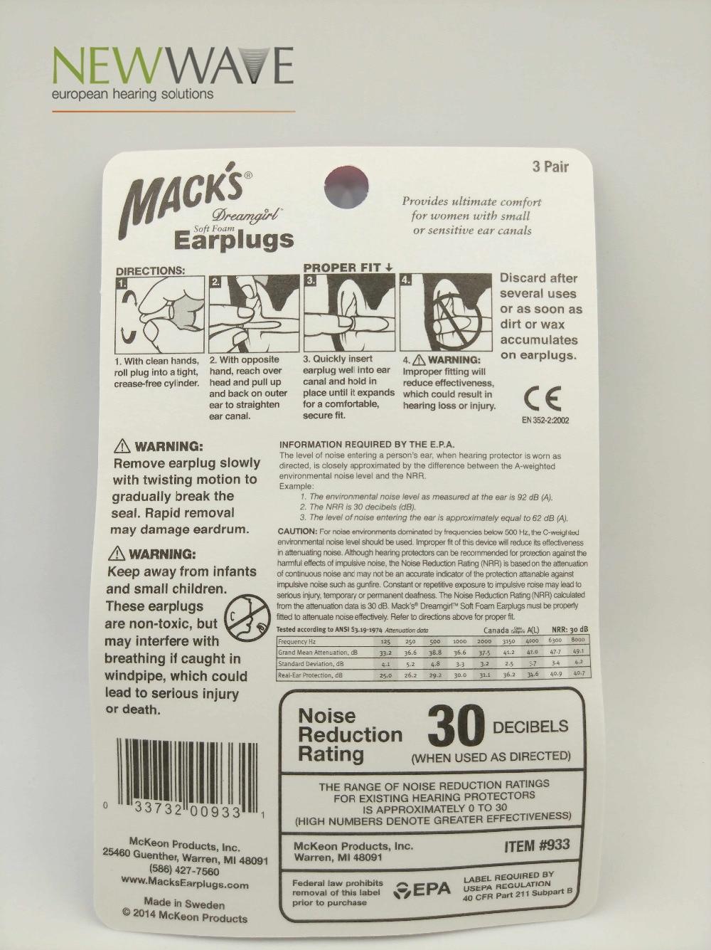 Mack's 3 pairs foam earplugs noise reduction pink