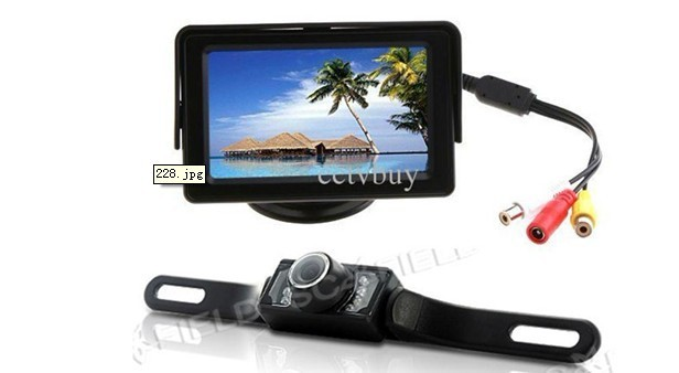 4.3 inch  monitor + car rear view Reversing camera IR night vision back up system with guide line camera parking sensor