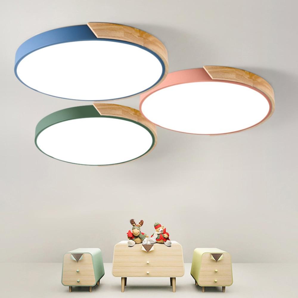[DBF]Nordic Multicolor Alloy Led Ceiling Lamp 23/30/40/50/60cm Diameter Living  Room Wood Led Ceiling Light Fixtures Kitchen