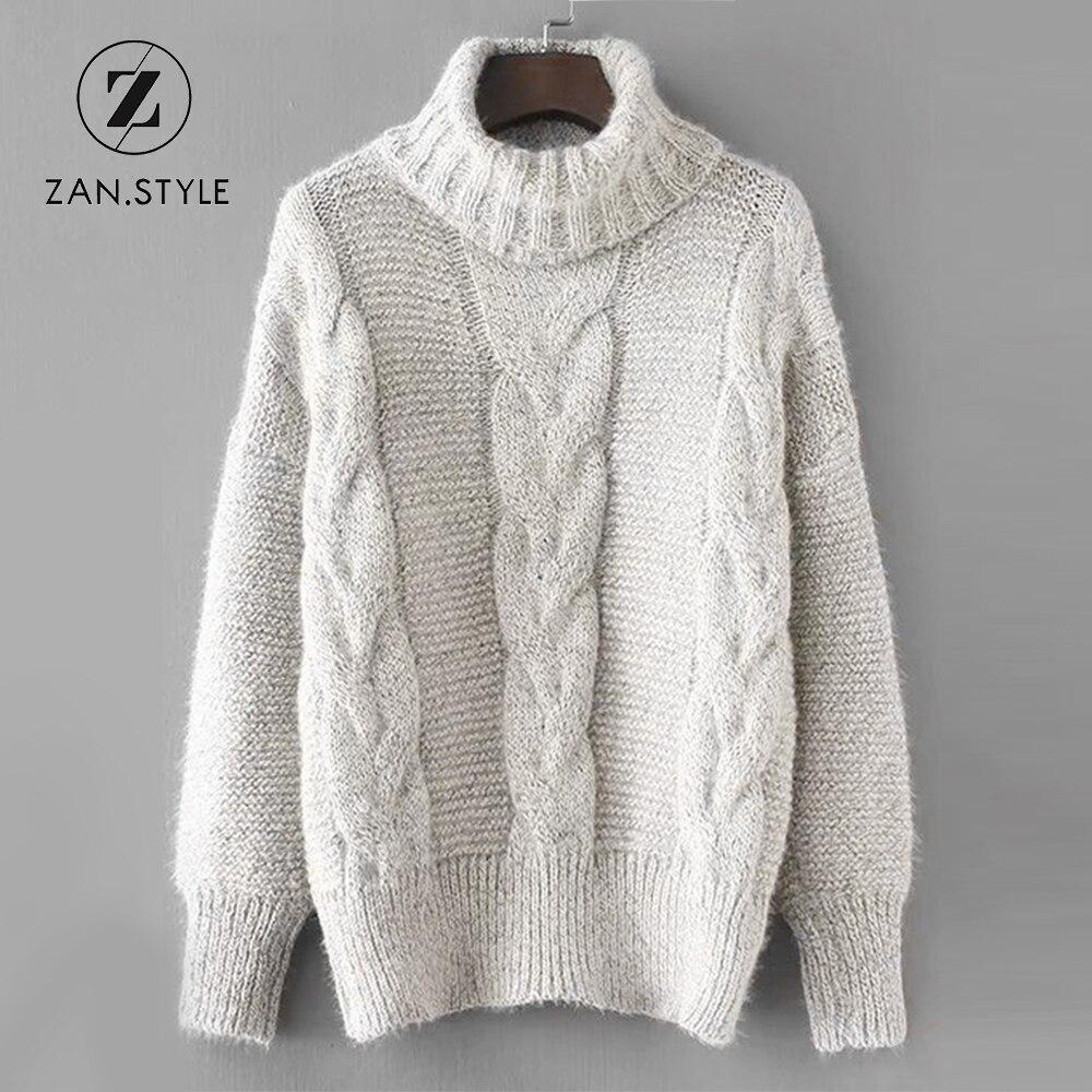ZAN.STYLE Turtleneck Knit Christmas Sweater Full Sleeve Criss Cross ...