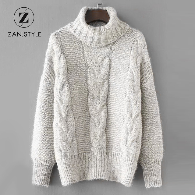 style turtleneck knit christmas sweater full sleeve criss cross pullover tops jumper white women