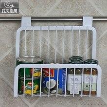 Multifunctional Tableware Condiment Bottles Storage Rack Iron Kitchen Cabinet Door Hanging Basket