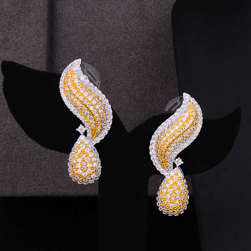 GODKI ดอกไม้หรูหราองุ่นไนจีเรียชุดเครื่องประดับสำหรับงานแต่งงาน Cubic ZircoN ดูไบ Gold ชุดเครื่องประดับแอฟริกันลูกปัดเครื่องประดับชุด