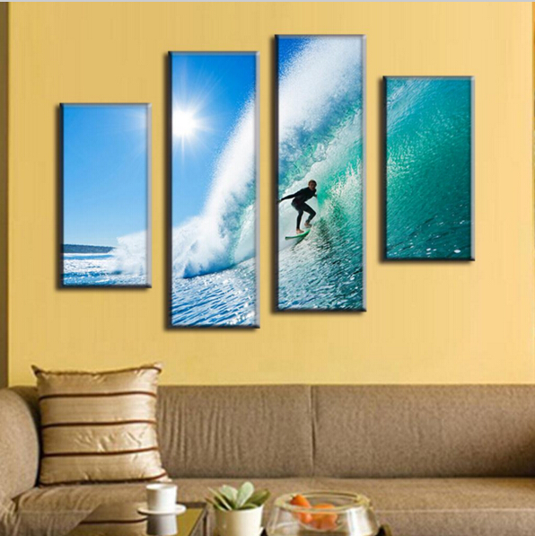 4 Pcs/Set Modern Seascape Canvas Prints Surfing in Hawaii Wall ...