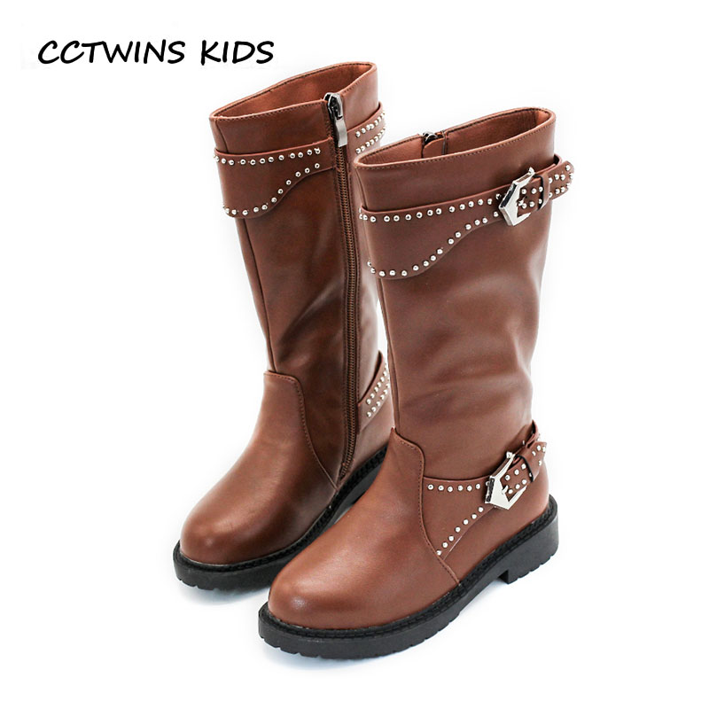 CCTWINS KIDS 2018 Winter Children Pu Leather Knee High Boot Toddler Brand Warm Shoe Baby Girl Fashion Black Stud Boot H045 cctwins kids 2017 children brand high boot kid fashion over the knee boot baby girl toddler genuine leather black shoe c1312
