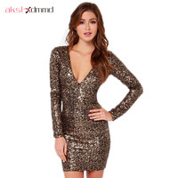Gold Sequined Bodycon Dress Women 2015 New Long Sleeve Deep V Neck Slim Bandage Sexy Clubwear