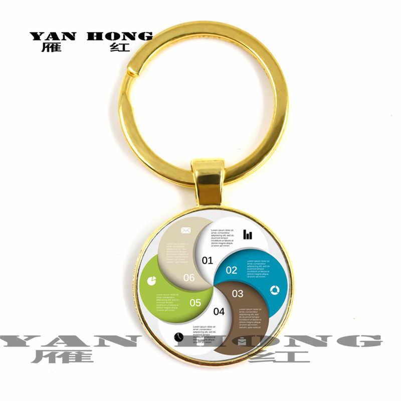 Hình Học Phần tử. Móc chìa khóa thời trang 25 MM kính pha lê thủ công. YANHONG Trang Sức Mặt Dây Chuyền