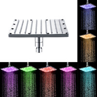 Color Changing LED Shower Head Temperature Sensor led light square Stainless steel rainfall spout Shower head With Filter