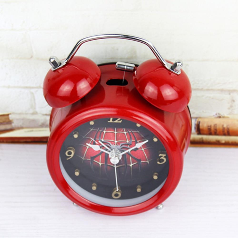 Mode Red Cobweb Style 3D Logam Bell Jam Alarm Minimalis Desktop Jam - Dekorasi rumah - Foto 3