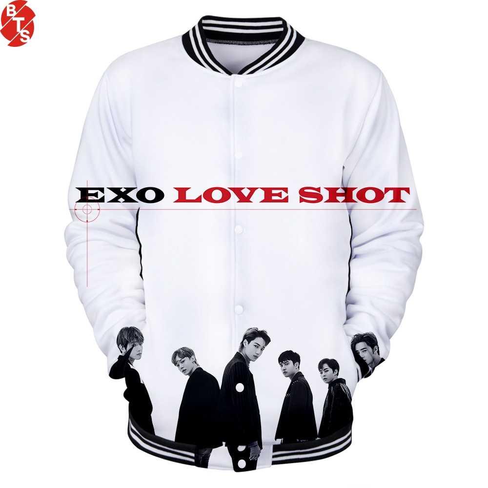 Kpop Bang Store EXO Love Shot 3D impreso chaquetas de béisbol mujeres/hombres moda chaquetas de manga larga 2019 oferta ropa Casual