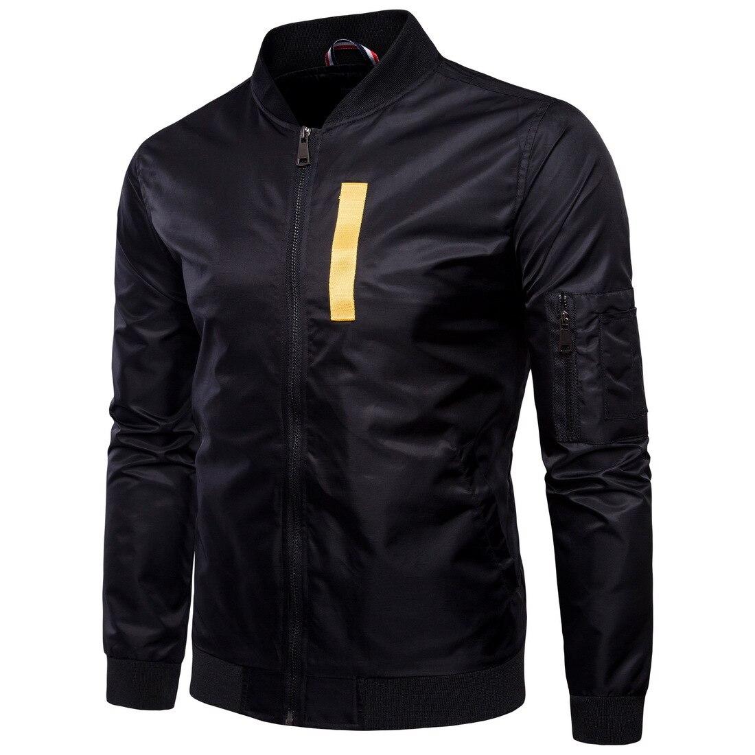 2018 automne varsité veste hommes à manches longues vestes de Baseball solide noir avec des rubans décoration hommes Bomber veste Street Fashion