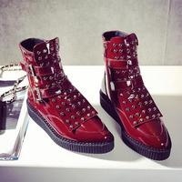 2017 New Style Ladies Flat Fashion Shoes Women Studded Winter Plush Boots Pointed Toe Patent Leather Rivet Ankle Buckle Booties