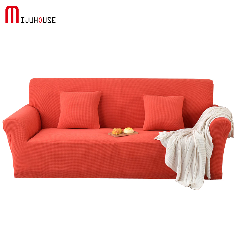 Polar Fleece Sofa Cover Vital Orange Solid Color All inclusive Sofa Sets of Flexible Sofa Sets 1/2/3 Nonslip Washed Sofa Cover