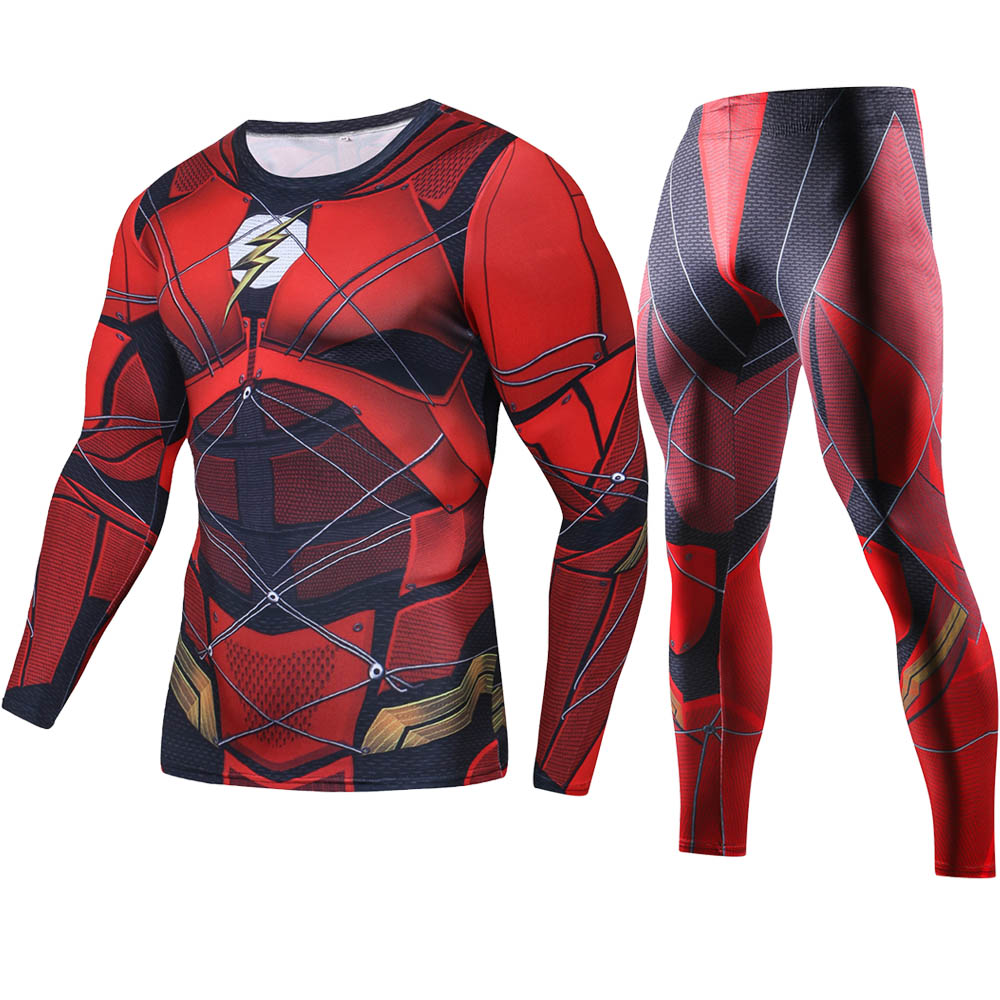 2018 Justice League Flash Printed Long T shirts Set Men Compression Shirts 2018 NEW Crossfit Tops For Male Cosplay Costume Sets