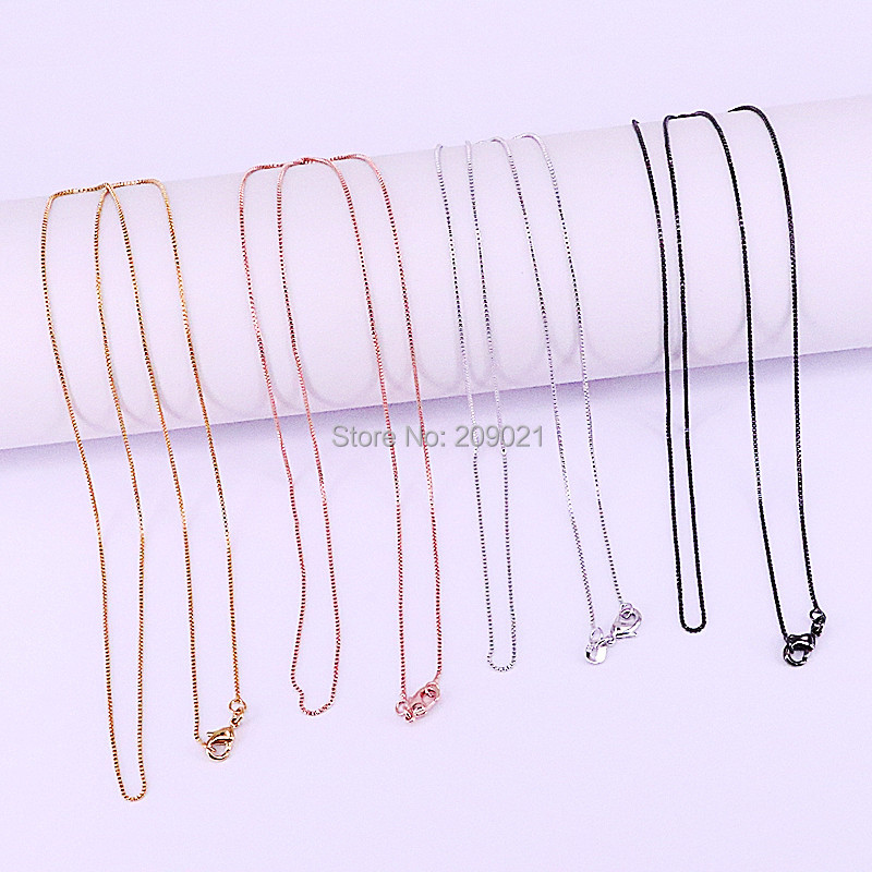 20Pcs Silver /Gold /Rose Gold /Black Color Necklace Chains With Lobster Clasps For Diy Jewelry Making