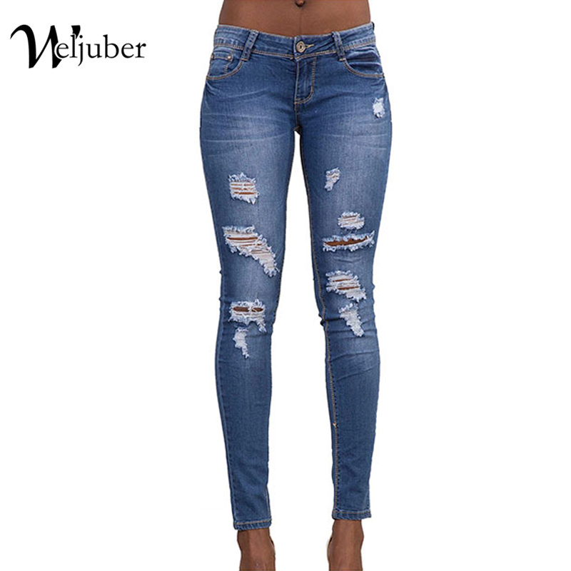 2017 Weljuber Hole Jeans Denim Ripped Blue Pencil Pants Women Cool Zipper Sexy Jeggings High Elastic Wash Low Waist Skinny Jeans