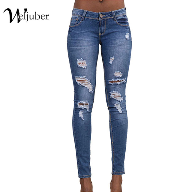 94146e8eee1 2017 Weljuber Hole Jeans Denim Ripped Blue Pencil Pants Women Cool Zipper  Sexy Jeggings High Elastic Wash Low Waist Skinny Jeans