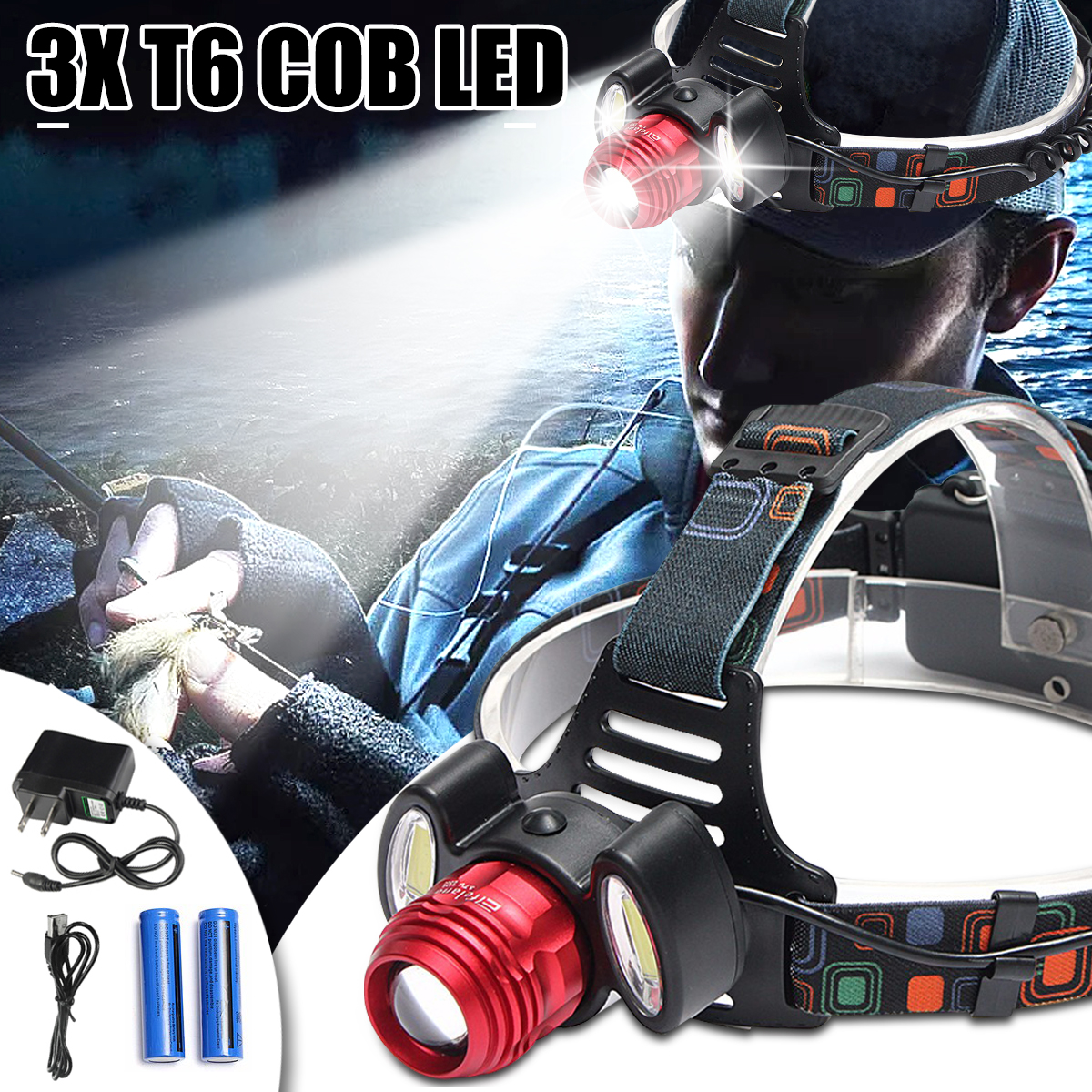 все цены на 30000lm LED Headlamp 1*T6+2*COB Fishing Headlight Flashlight Torch Head Lamp Light 18650 Rechargeable For Camping Hunting