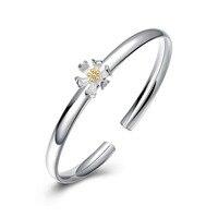 New Arrival 925 Sterling Silver Bangle 925 Silver Fashion Jewelry Flower Bangle Bracelet For Women SVB123
