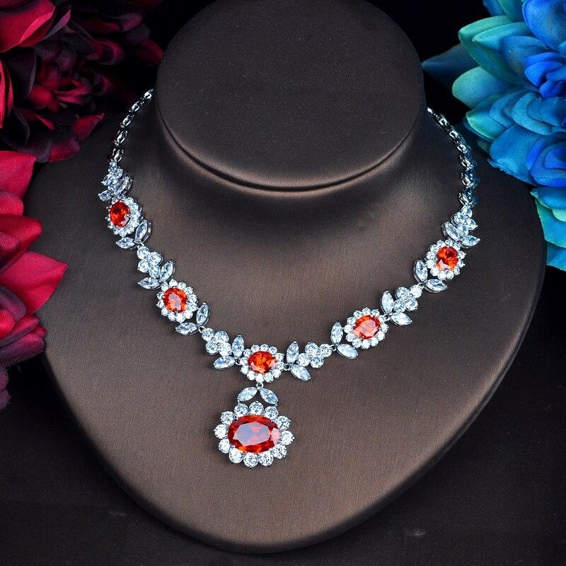 HIBRIDE Fashion  Red CZ Jewelry Sets For Women Necklace Set Bijoux Femme Accessories Flower DesignJewelry Gifts N 572-in Jewelry Sets from Jewelry & Accessories    2