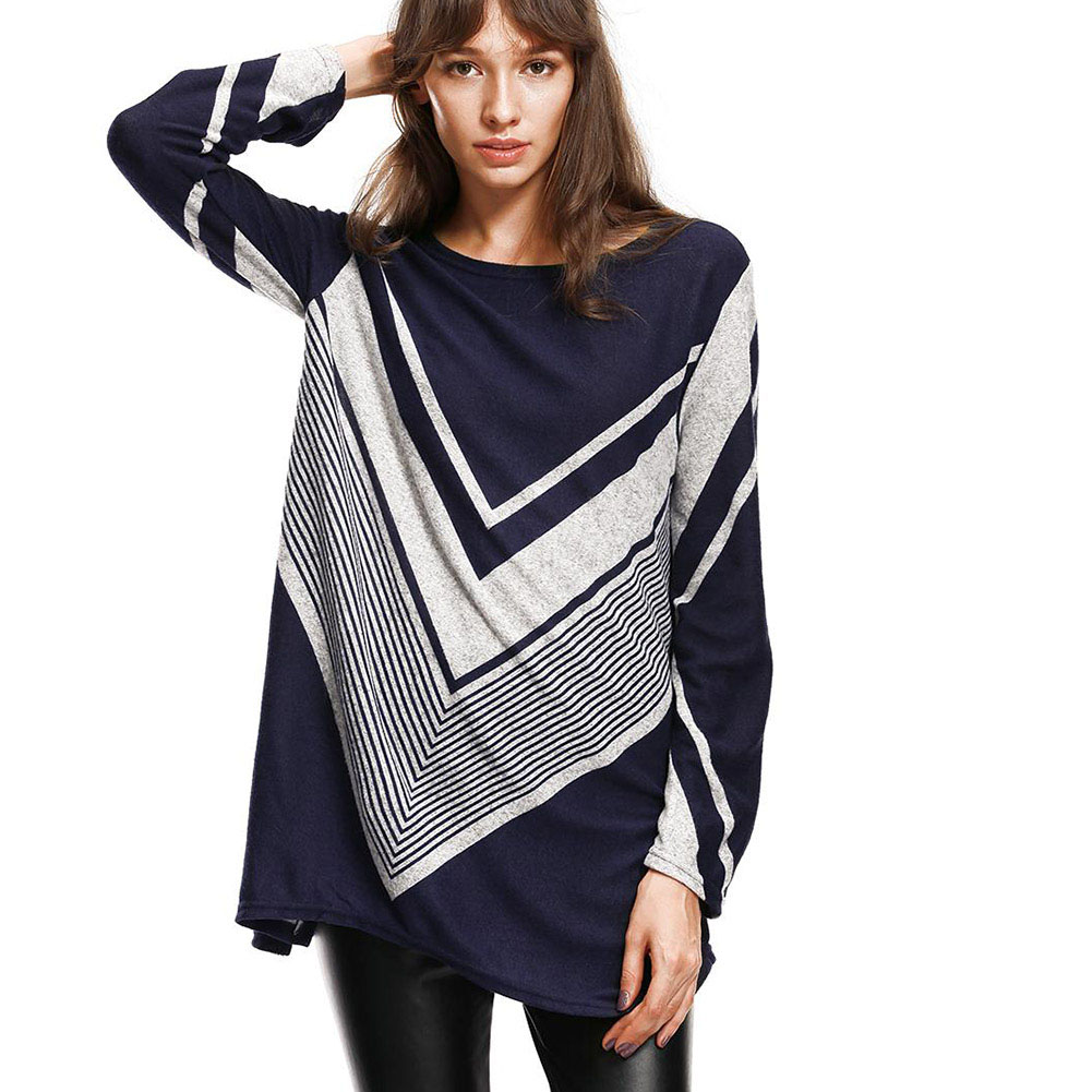 Autumn Korean Style Women Clothing Casual Loose Long Sleeve Striped Plus Size Thick Basic Long Tee
