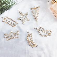 Korean Pearl Hairpins Hair Clips For Woman Simple Headwear Side Clip Pentagram Lady Geometric Word Folder