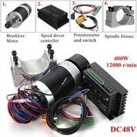 400 Вт 12000 об./мин. ER11 патрон с ЧПУ безщеточный шпинделя двигатель постоянного тока станок с драйвером Скорость контроллер и зажим