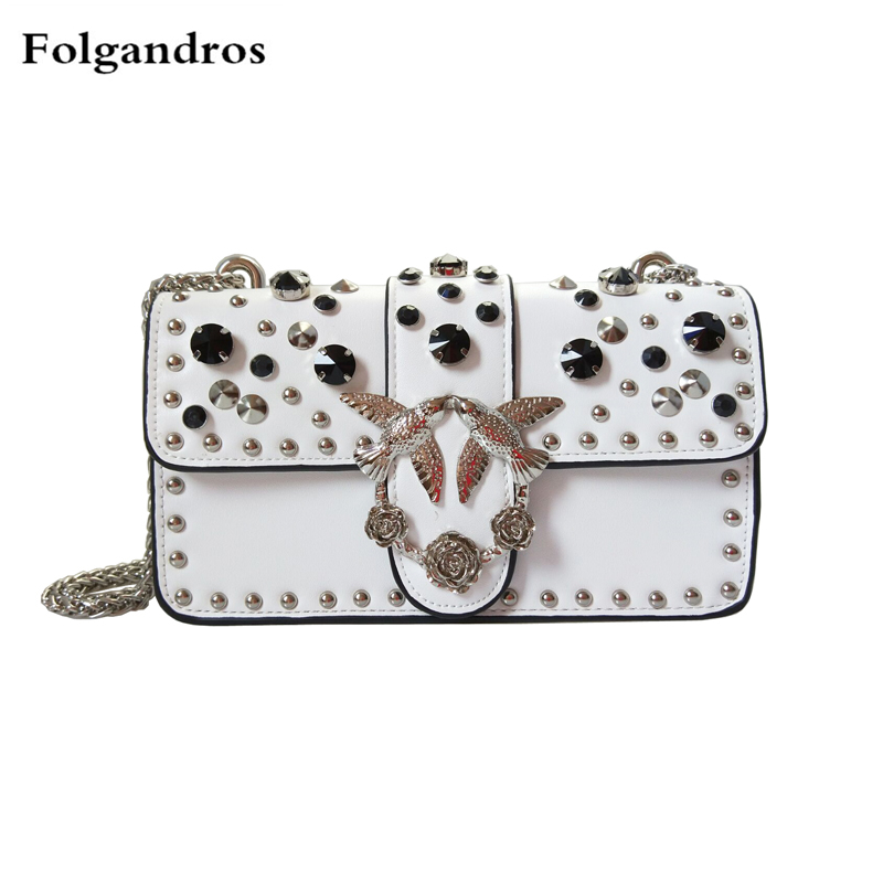 Luxury Brand Women Bags Famous Designer Chic Rivet Chain Shoulder Bags Swallow Logo Bag Clutch Lady Split Leather Handbags Purse 2017 luxury handbags black women bags designer women s bag rivet chain messenger shoulder bags female skull clutch famous brand