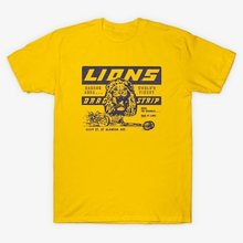HAHAYULE-JBH Unisex Singa Drag Strip Kuning T-shirt Sekali Waktu Di Hollywood Tee Vintage Fashion Balap Mobil Kemeja(China)
