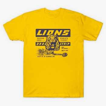 HAHAYULE-JBH Unisex Lions Drag Strip Yellow T-Shirt Once Upon A Time In Hollywood Tee Vintage Fashion Racing Car Shirt - DISCOUNT ITEM  7% OFF All Category