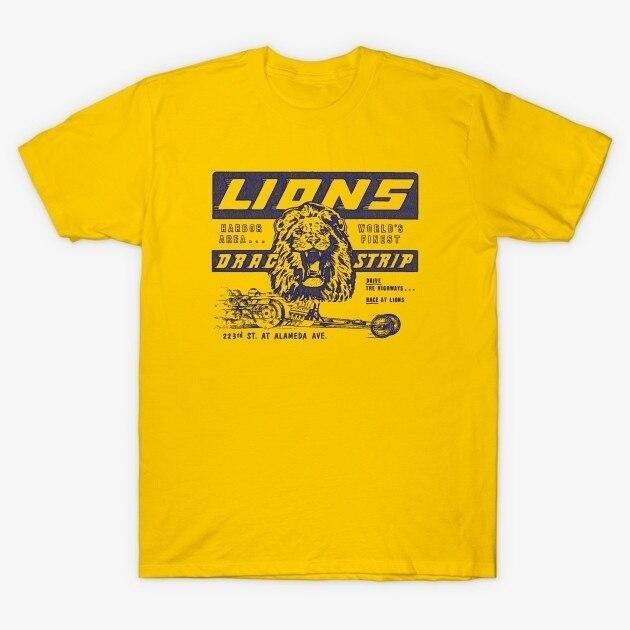 HAHAYULE-JBH unissex lions drag strip amarelo camiseta uma vez em um tempo em hollywood camiseta moda vintage carro de corrida