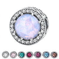 VOROCO 100 925 Sterling Silver Radiant Hearts Opalescent Pink Crystal Clear CZ Fit Bracelets DIY Fashion