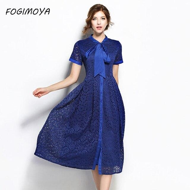 Fogimoya платье женские летние Мода 2017 кружева лоскутное открытые платья женские короткий рукав лук галстук кружева длинное платье Новый