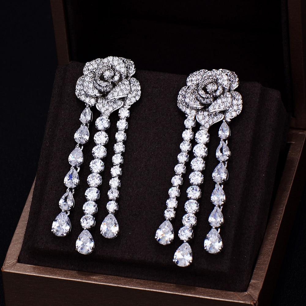 GODKI Brand New Fashion Luxury Rose Flower Full Pave Cubic Zirconia Long Dangle Tassel Wedding Earring