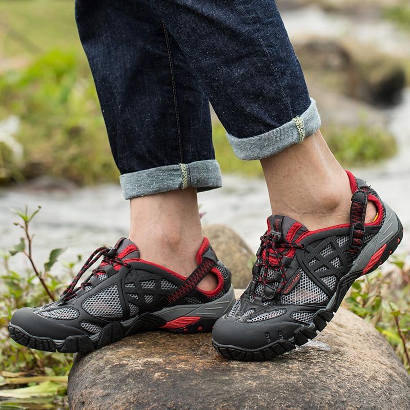 TOURSH 2018 Summer Water Sandals Waterproof Men Outdoor Breathable Aqua Shoes Men Outdoor Sandals Men Trekking Trail Water Shoes