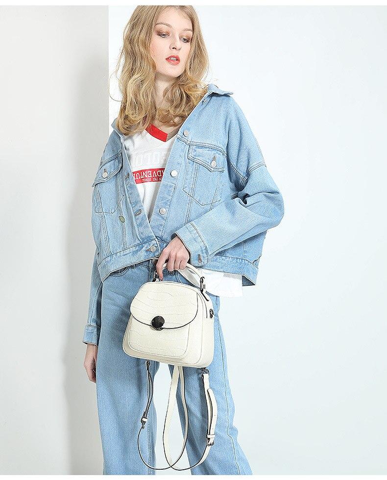 2019 nouveau luxe mode en cuir véritable femmes sac à dos nouveau sauvage femme sac à bandoulière blanc en cuir de vachette dames petits sacs à dos - 3