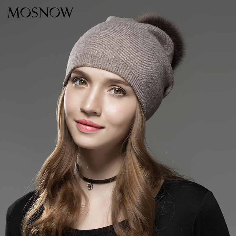 Mosnow Hat Female Wool Raccoon Fox Fur Pom Poms Winter Hats Asymmetry High Quality Knitted Vogue Warm Casual   Skullies     Beanies