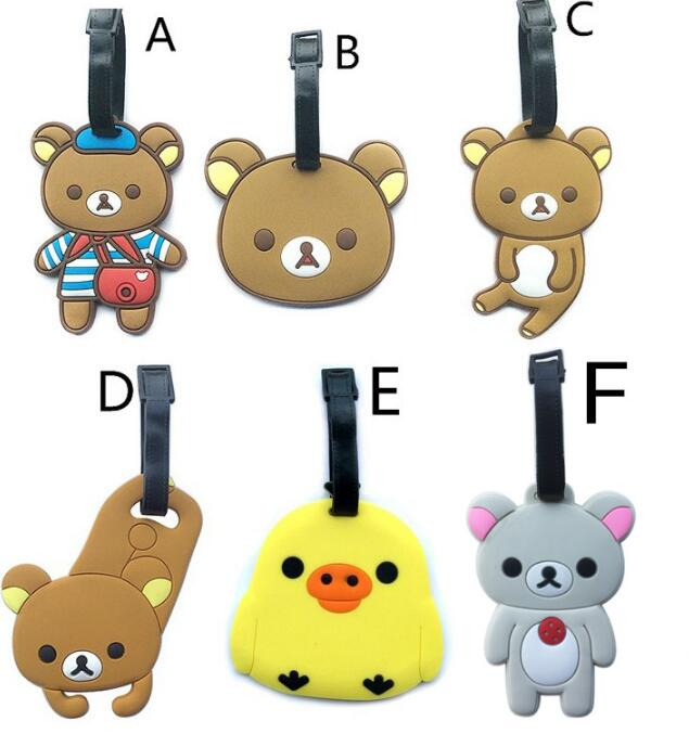 1Pcs/set Hot sale Cute RILAKKUMA creative silicone luggage tag pendants hang tags checked brand tourist products