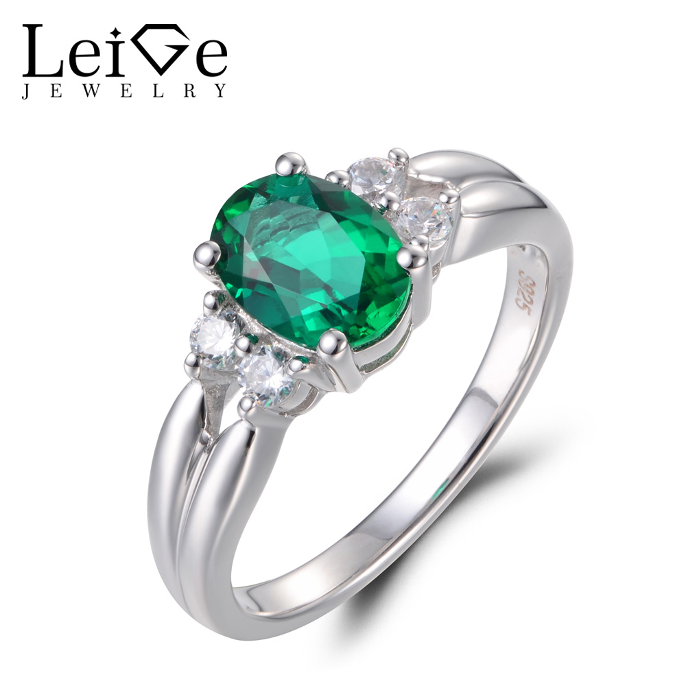Leige Jewelry Anniversary Rings Emerald Rings May Birthstone Green Gemstone Ring Real 925 Sterling Silver Fine Jewelry for Women leige jewelry emerald engagement rings for women pear shaped ring sterling silver 925 fine jewelry green gemstone may birthstone
