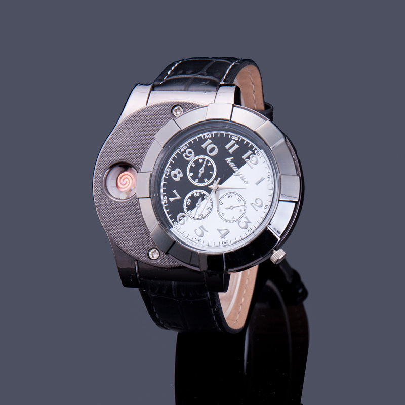 Quartz Watches USB Charging Lighter font b Cigarette b font Lighters for Men isqueiro