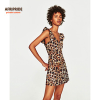 2017 Women Summer Dress AFRIPRIDE Private Custom Sleeveless V Neck Mini Beach Dress Plus Size Pure