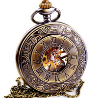 Relogio Masculino Steampunk Skeleton Mechanical Pocket Watch Men Fashion Vintage Mechanical Clock Watch Roman Numeral Dial